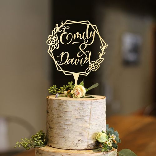 Personalized Wood Geometric Names Floral Cake Topper ,