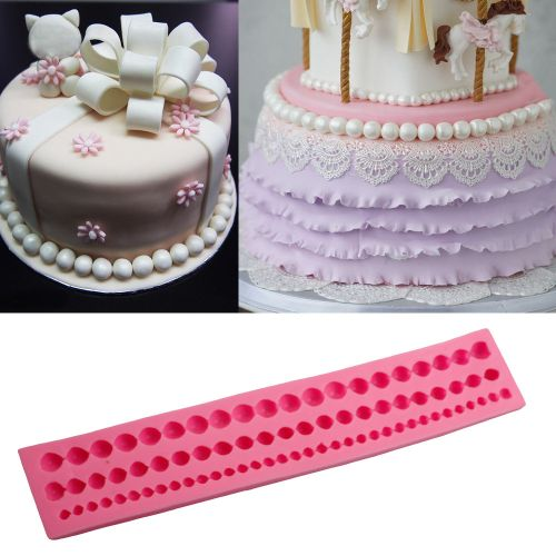Lightning DIY Pearl String Paste Bead Clay Mold Fondant Cake Silicone Tool Decor -As Show