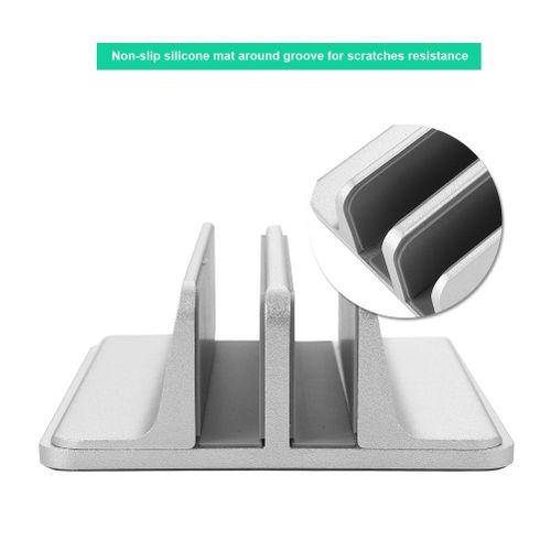 2 In 1 Adjustable Aluminum Vertical Laptop Stand NoteBooks Holder Space-saving Bracket