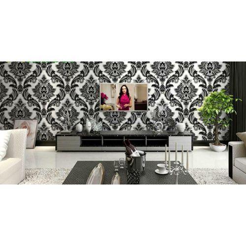 3D PVC Wall Paper Black & White Antique Flower