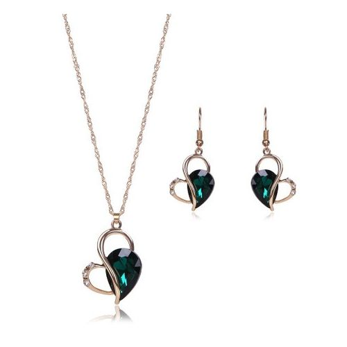 Jewelry Set Crystal Pendant Earring Necklace Jewelry-Green