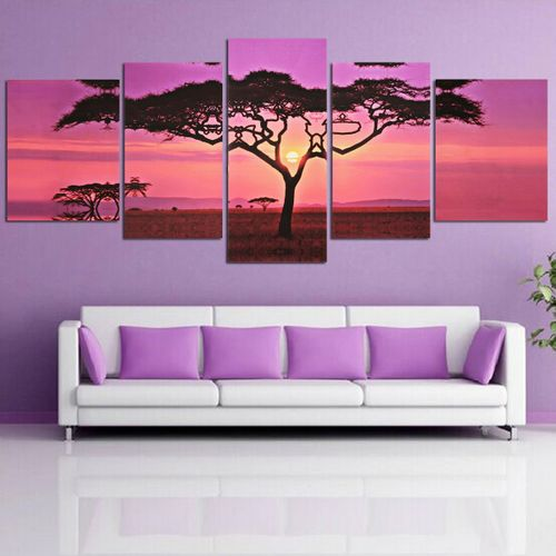 5 In 1Large Sunset&Tree Print Wall Art Picture Home Decor