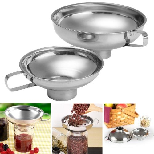 Stainless Steel Funnel Cup Hopper Filter Wide Mouth Canning Kitchen Tool 14cm