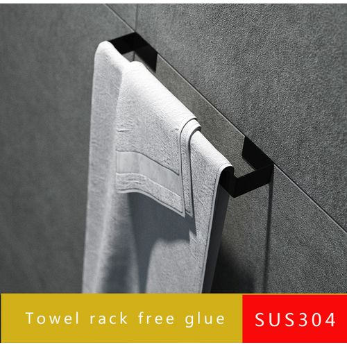 Stainless Steel Towel Rack Wall Mounted Hanging Towel Nail Free Glue Black Color Holder Size450X40X23MM