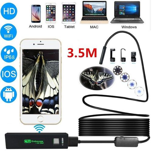 Haron 3.5M 8 LED 8.0mm Wireless WIFI Mini Cameras 1280x720 HD Wifi Endoscope Inspection Camera Night Vision Function MAZP-SHOP
