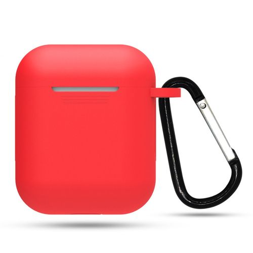 Silicone Case With Anti-lost Carabiner Anti-dust Cover For AirPods Earphones-red