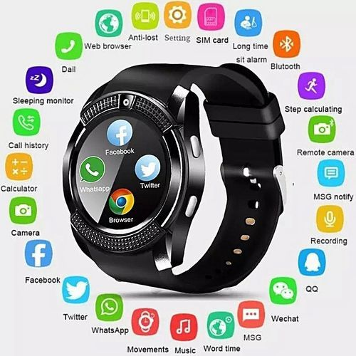 Waterproof Smart Watch With Camera & Sim Slot----Black