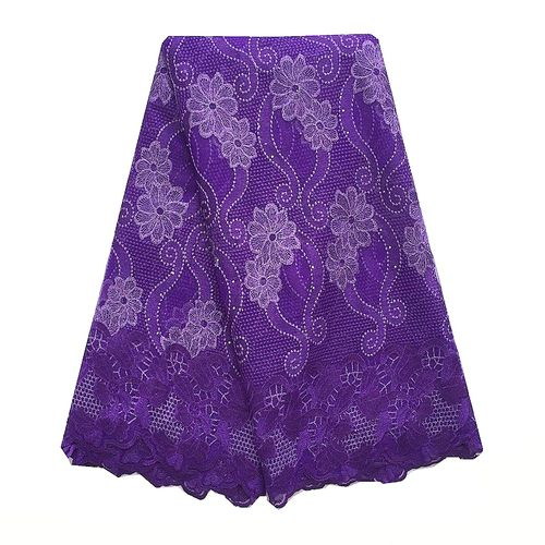 High Quality Embroidery Mesh Lace French Tulle Fabric-Purple