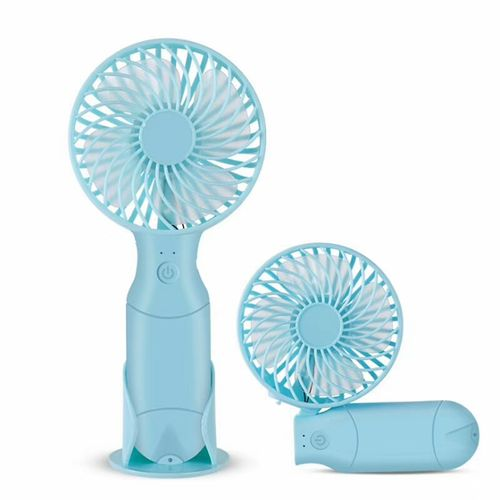 Rechargeable Hand Fan With Built In Power Bank - BLUE