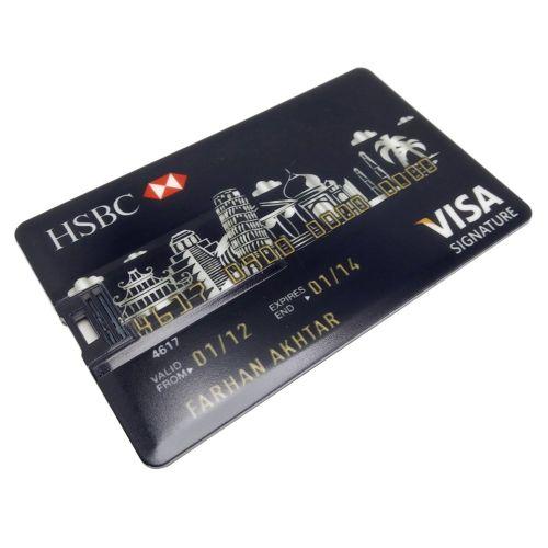 Credit Card USB Flash Drive 8G/16G/32G/64G/128G Bank Model Memory Stick Black