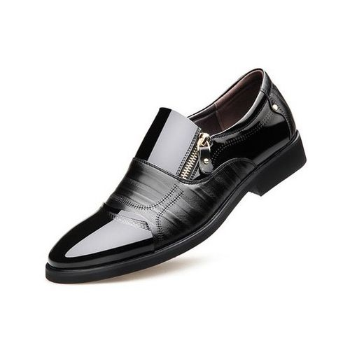 Mens Slip On Formal Shoes Fashion Soft Leather Shoes Black