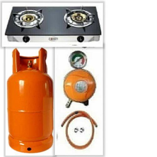 Generic Glass, Gas Cooker +12.5 Kg Cylinder +regulator And Hose