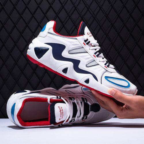 Men Jogging Sneakers Light Mesh Shoes-WhiteBlue