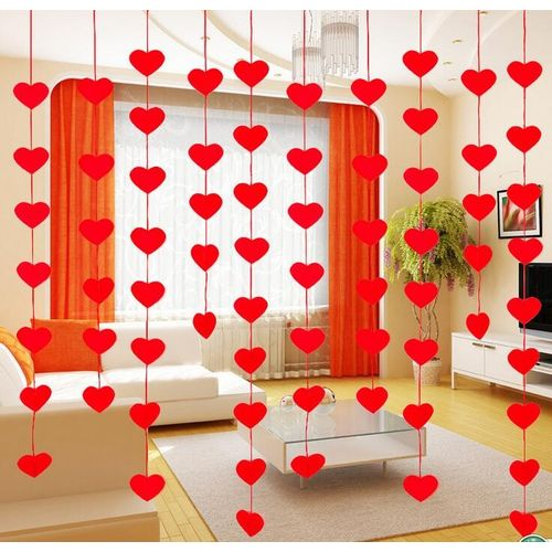 Red Heart Shape Window Door Hanging String Curtain Party Wedding Decoration Lot