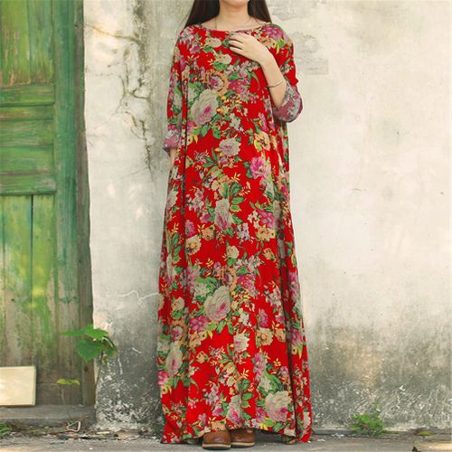 Women Floral Print Full-length Kaftan Loose Maxi Long Dress