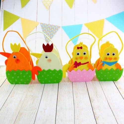 Benhongszy Easter Basket Decorative Chick Pattern Non-woven Lovely Portable Bag Festival Bags For Candies Goodies Treats Eggs Easter