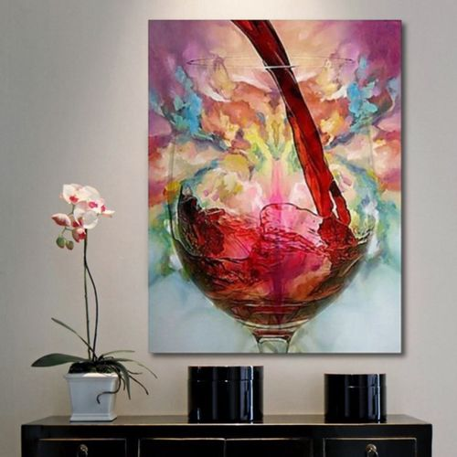 Abstract Giclee Red Wine Glass Oil Painting Canvas Print Wall Art Picture Decor With Frame