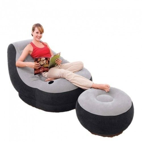 Inflatable Air Chair With Foot Rest And Pump