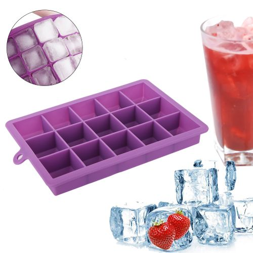 15 Grids Ice Cube Tray Soft Silicone Square Ice Cube Tray Mold Ice Cube Maker Container Kitchen Bar
