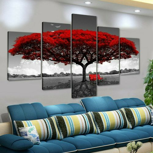5PCS Home Decor Canvas Print Painting Wall Art Red Tree
