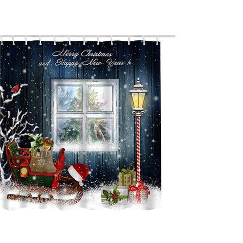 Lodaon Christmas Waterproof Polyester Bathroom Shower Curtain Decor With Hooks 65x71''