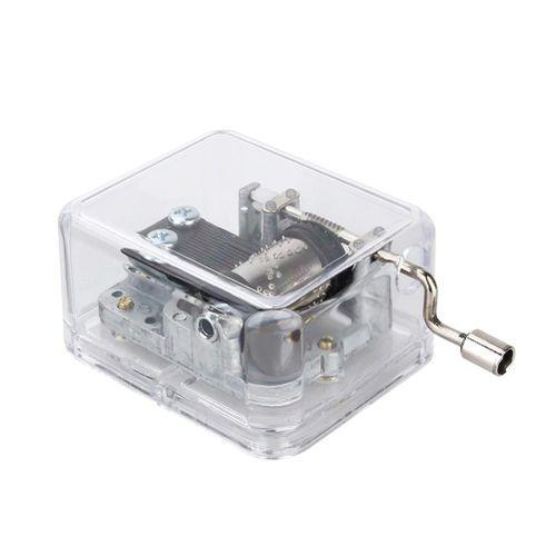 Crank Music Box,18-Note Crank Music Box Mini Acrylic+Metal HandCrank Music Box Music Box For Children(Melody Swan Lake)