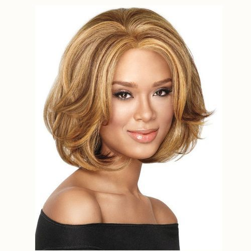 Women Short Wave Hair Gold Wig Hairpiece Front Lace Wig