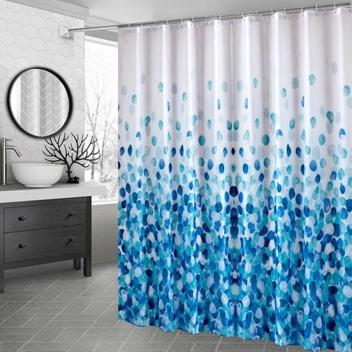 High-grade Thicken Polyester Fabric Shower Curtain Waterproof Mildew Resistant Bathroom Curtain With Hooks