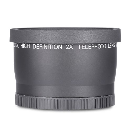Digital High Definition 58MM 2X Teleconverter Lens For DSLR Camera - Black