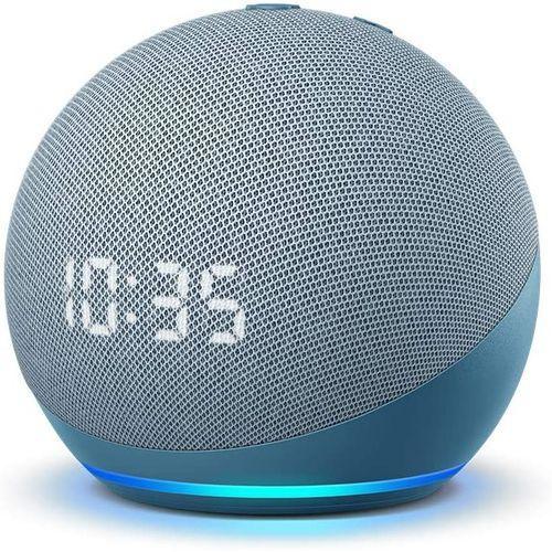 Echo Dot With Clock (4th Gen - 2020 Release) - Smart Speaker With Alexa - Twilight Blue