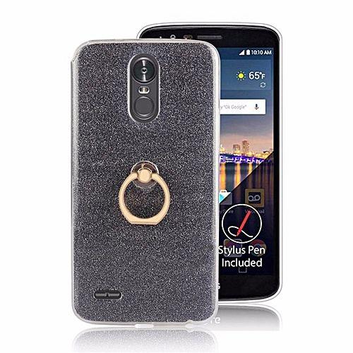 Multifunction Metal Ring Soft TPU Phone Cover Case For LG Stylus 3 / Stylo 3 / LG K10 Pro (Black)