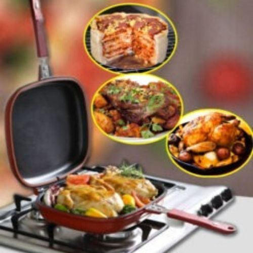 Dessini DieCast Double Sided Grill NonStick Fry Pressure Pan