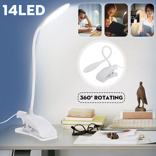 Daylight White LED Flexible USB Reading Light Clip Beside Bed Table Desk Lamp