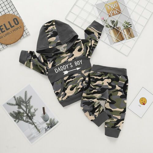 Camouflage Infant Baby Boys Autumn Clothes Hooded Sweatshirt+Long Pants Outfit