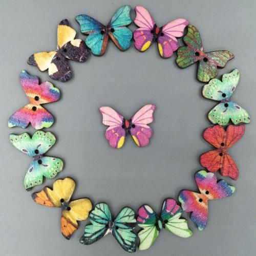 DIY 50Pcs Mixed Bulk Butterfly Natural Wood Wooden Buttons 2 Holes Scrapbooking Craft,free Shipping