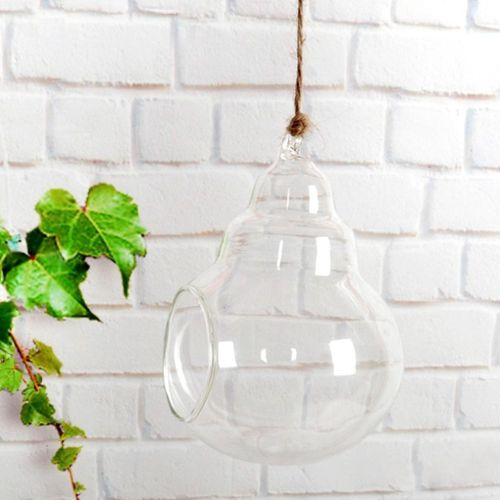 DIY Clear Glass Hanging Teardrop Rope Gourd-shape Terrarium For Air Plants Succulent Planters Office Home Wedding Gift Decor