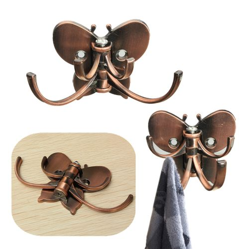 Vintage Alloy Coat Hat Clothes Robe Double Hooks Wall Door Hangers Holder Nail