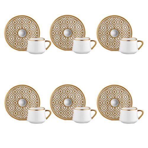 Koleksiyon Sufi Ikat Turkish Coffee Set Of 6 -White/Gold