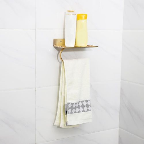 Kitchen Waterproof Toilet Paper Shelf With Mobile Phone Storage Shelf Aluminum Paper Towel 20X12X4 Cm