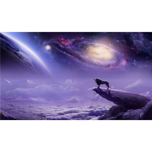 Space Poster 60X35cm Lion Planets Galaxy Nebula Wall Picture
