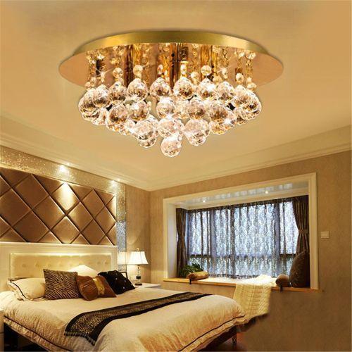 Modern Round Ceiling Chandelier Light Crystal Droplets GOLD