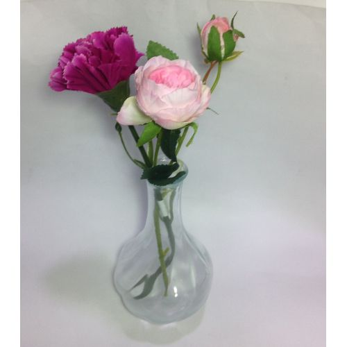 Clear Glass Vase With Purple And Pink Rose Flower