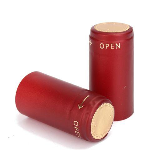 100 Pcs PVC Tear Tape Wine Bottle Heat Shrink Cap Sealing Cover Home Brew(32CM)