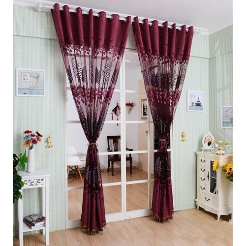 1PC 250*100cm Living Room Curtain Floral Tulle Door Window Curtain Drape Panel Sheer Scarf Valances Glass Yarn Curtains (Not Included Shading Lined)