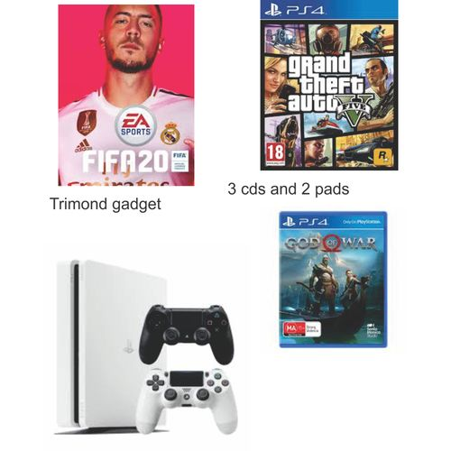 Ps4 White Slim With 2pads And 3 Cds Fifa20,Gta5,God Of War4