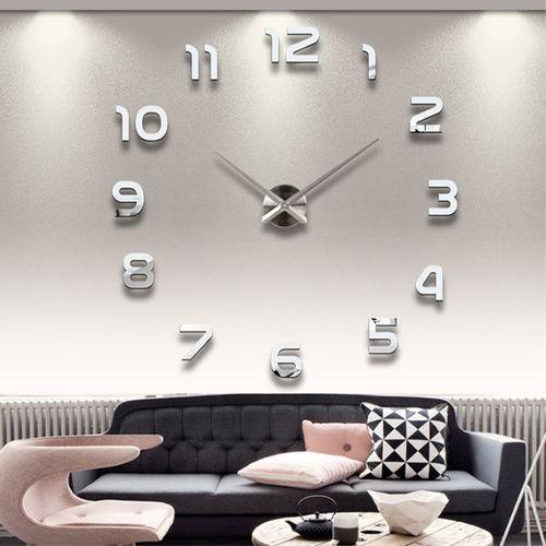 Large Modern DIY 3D Number Wall Clock Mirror Sticker Decor Home Office Kids