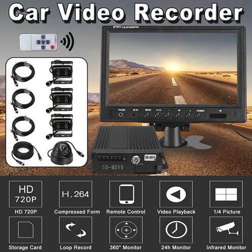 "9"" Quad Monitor DVR Video Recorder System Truck Caravan Trailer 4x IR CCD Camera"