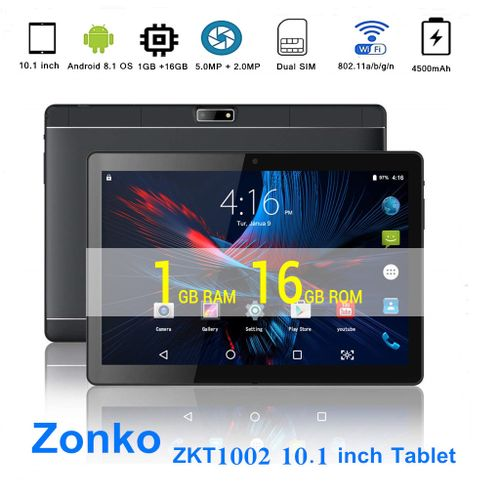 "ZKT1002 10.1""inch (1GB RAM 16GB ROM ), 3G Phablet Android 8.1 5.0MP + 2.0MP Dual Cameras 4500mAh - Black"