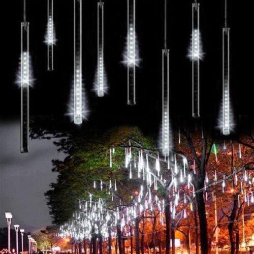 Meteor Shower Rain Tubes 144led 8 Tubes AC100-240V LED String Christmas Lights Wedding Party Garden Light Outdoor Plug XR FCJMALL