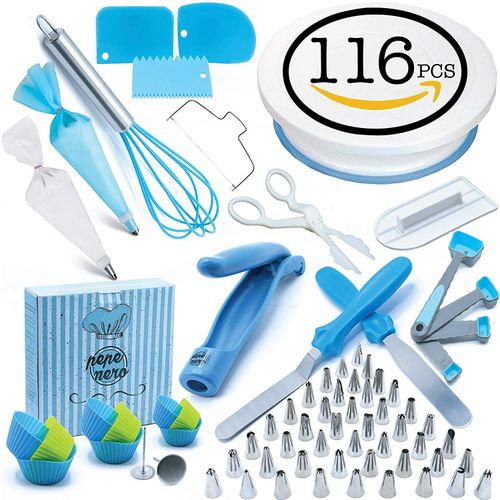 116 Pcs/set Cake Turntable Piping Tip Nozzle Pastry Bag Set